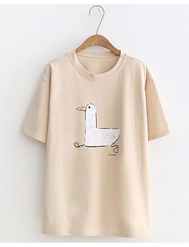 Pentru femei Tricou Ieșire / Muncă Bumbac De Bază - Animal Imprimeu / Vară