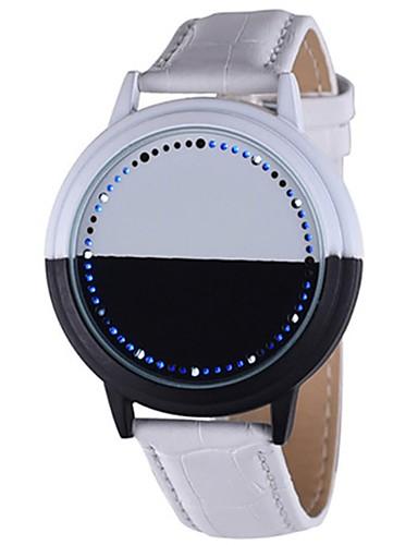 0c0900a2d1f Casal Relógio de Pulso Digital Couro Preta   Branco Cronógrafo Luminoso  Digital senhoras Criativo Legal -