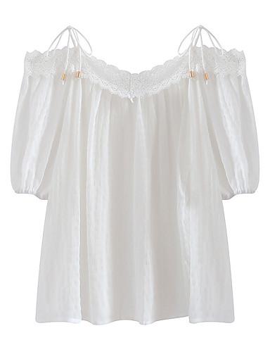 Pentru femei Bluză Bumbac Vintage - Mată Mâneci Bufante, Franjuri Alb negru