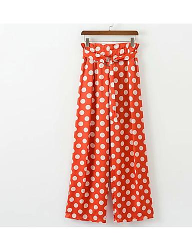 Pentru femei De Bază / Șic Stradă Talie Înaltă Bumbac Zvelt Picior Larg / Pantaloni Chinos Pantaloni - Plisată, Buline / Ieșire