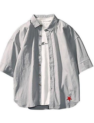 cămașa bărbaților ieșind - guler de cămașă solid colorat