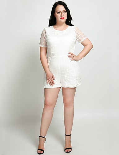 fbf926d42c8a0 Women s Plus Size Party   Daily Active   Street chic White Black Romper