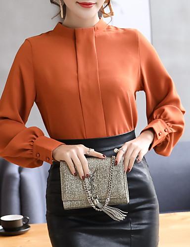 bluza pentru femei - gât rotund solid colorat