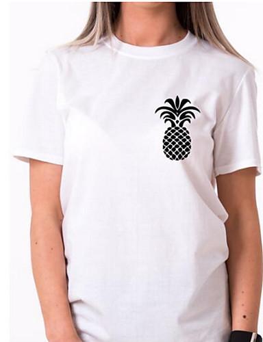 abordables Camisas y Camisetas para Mujer-Mujer Básico Noche Tallas Grandes Estampado - Algodón Camiseta Delgado Un Color / Fruta Blanco XL / Verano
