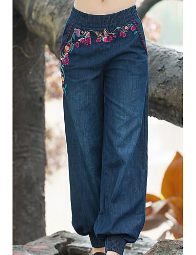 Pentru femei Bumbac Larg Harem / Blugi Pantaloni Mată / Floral