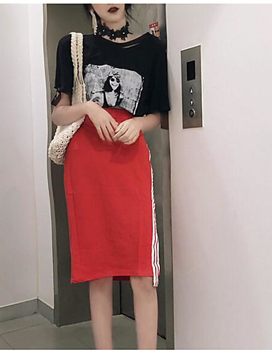 Pentru femei Mărime Plus Size De Bază Set - Dungi / Geometric, Fustă