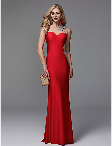 Mermaid / Trumpet Illusion Neck Floor Length Lycra Prom / Formal Evening Dress with Beading by TS Couture®