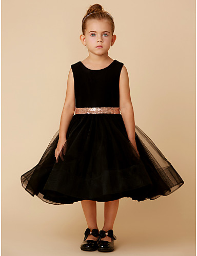 650694195cb Princess Knee Length Flower Girl Dress - Tulle   Velvet Sleeveless Jewel  Neck with Bow(s)   Belt by LAN TING BRIDE®