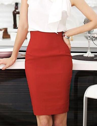 abordables Jupes-Femme Grandes Tailles Chic de Rue Travail Moulante Jupes - Couleur Pleine Fendu Noir Vin Blanche XS S M / Sexy