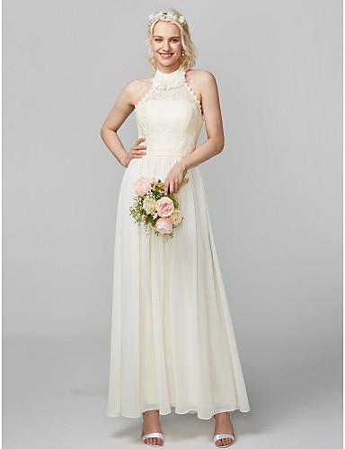 Sheath / Column High Neck Floor Length Chiffon Lace Bodice Bridesmaid Dress with Sash / Ribbon Pleats by LAN TING Express