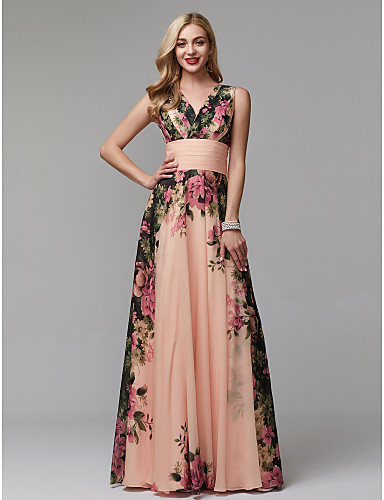 cheap Varieties of Occasions-A-Line V Neck Floor Length Chiffon Prom Dress with Pattern / Print / Ruched by TS Couture®