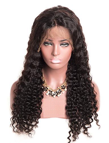 billige Blondeparykker med menneskehår-Remy Menneskehår Helblonde Parykk stil Brasiliansk hår Deep Curly Parykk 150% Hair Tetthet med baby hår Naturlig hårlinje Blekte knuter Dame Lang Blondeparykker med menneskehår