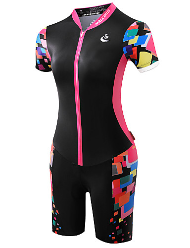 cheap Cycling Clothing-Malciklo Women's Short Sleeve Triathlon Tri Suit - Black / Pink Plus Size Bike Breathable Quick Dry Anatomic Design Ultraviolet Resistant Reflective Strips Sports Polyester Spandex Coolmax® Classic