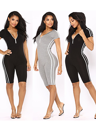 34ce5331982 Women s Deep V Tracksuit Workout Jumpsuit Black Gray Sports Stripes Cotton Zumba  Yoga Running Activewear Breathable Quick Dry Sweat-wicking High Elasticity