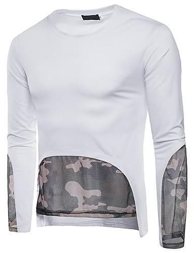 男性用 メッシュ / パッチワーク Tシャツ ベーシック ラウンドネック カラーブロック / カモフラージュ ブラック L / 長袖