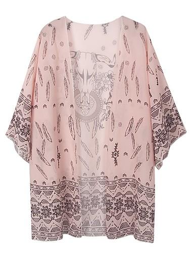 Žene Dnevno / Plaža Dug Kaput, Geometrijski oblici V izrez Dugih rukava Poliester Print Djetelina / Blushing Pink One-Size