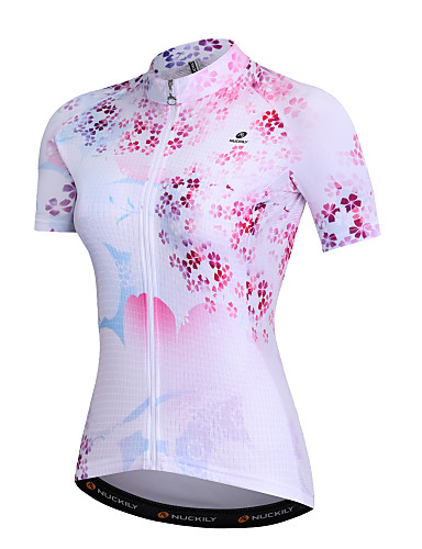 cheap Cycling Clothing-Nuckily Women's Short Sleeve Cycling Jersey - Pink Floral Botanical Bike Sweatshirt Top Breathable Quick Dry Sports Spandex Polyster Milk Fiber Mountain Bike MTB Road Bike Cycling Clothing Apparel