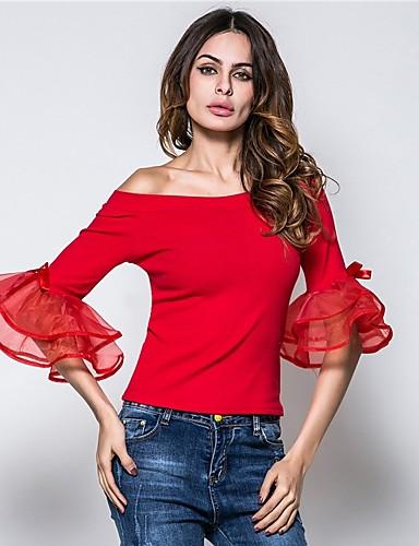 Majica s rukavima Žene Izlasci / Vikend Pamuk Jednobojni Lađa izrez