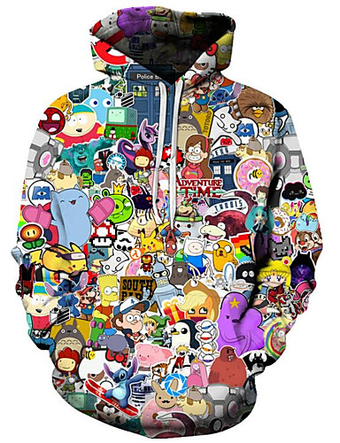 cheap Dark Fantasies-Men's Plus Size Active / Exaggerated Long Sleeve Loose Hoodie - 3D / Cartoon Print Hooded Black 4XL / Fall / Winter