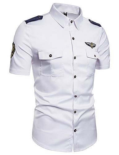 abordables Camisas de Hombre-Hombre Chic de Calle Bordado - Algodón Camisa, Cuello Inglés Un Color Blanco XXXL / Manga Corta