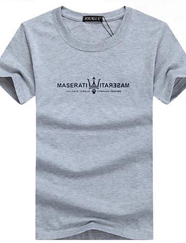 Majica s rukavima Muškarci Dnevno Pamuk Geometrijski oblici / Slovo Okrugli izrez / Kratkih rukava