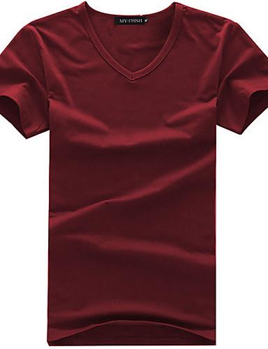 voordelige Uitverkoop-Heren T-shirt Effen Ronde hals Wit / Korte mouw