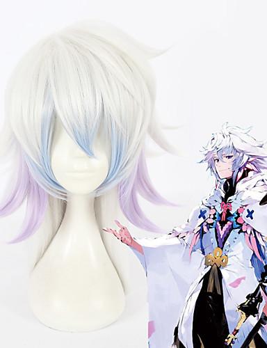 voordelige Cosplay Pruiken-Fate / Grand Order Merlin Cosplaypruiken Allemaal 18 inch(es) Hittebestendige vezel Zilver Anime