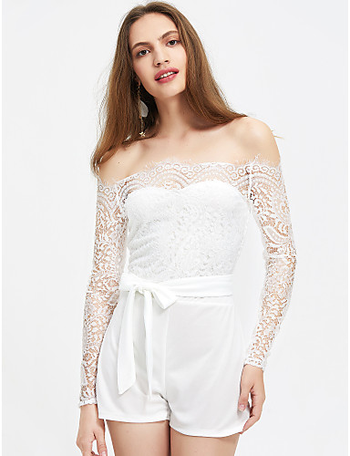 aedb4eeb8f5 Women s Off Shoulder Lace Party Off Shoulder White Slim Romper