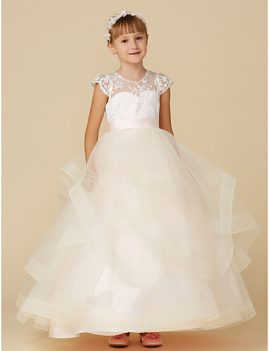 6288204378 Ball Gown Floor Length Flower Girl Dress - Lace   Tulle Short Sleeve  Illusion Neck with Buttons   Sash   Ribbon by LAN TING BRIDE®