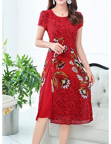 Women's Daily Chinoiserie Shift Dress Blue Green Red XXXL XXXXL XXXXXL