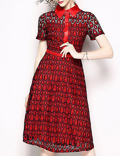 Žene Veći konfekcijski brojevi Elegantno Puff rukav  Shift Haljina - Rese, Jednobojni Do koljena Crno-crvena