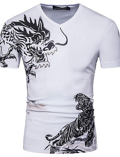 Majica s rukavima Muškarci - Osnovni / Kinezerije Dnevno / Izlasci Pamuk Color block / Životinja V izrez Print Tigrasto / Kratkih rukava