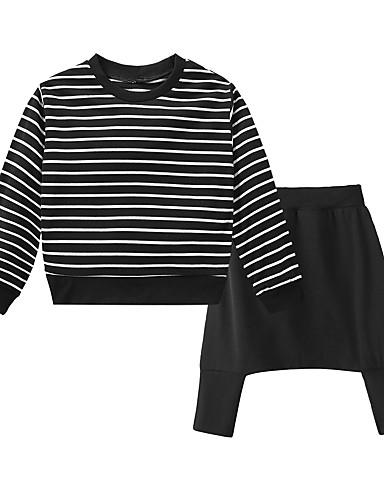 Dijete Djevojčice Crno-bijela Prugasti uzorak Dugih rukava Komplet odjeće