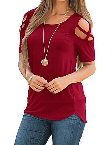 5594e32eeefd Γυναικεία T-shirt Κομψό στυλ street Μονόχρωμο Λαιμόκοψη U Χιαστί Μαύρο L    Sexy