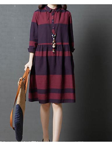e1edefd744b Women s Plus Size Daily Basic   Sophisticated Shirt Dress - Plaid   Check  Spring Cotton Black