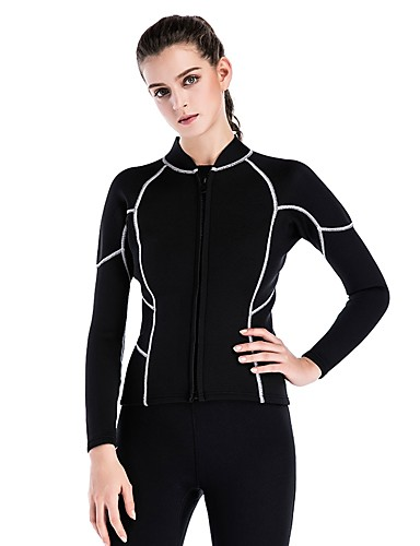 Women s Wetsuit Top 2mm SCR Neoprene Top Anatomic Design Stretchy Long  Sleeve Autumn   Fall Spring Summer   Winter   Micro-elastic e980d9b1d
