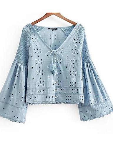 povoljno Majica-Majica Žene Dnevno Jednobojni Duboki V Plava