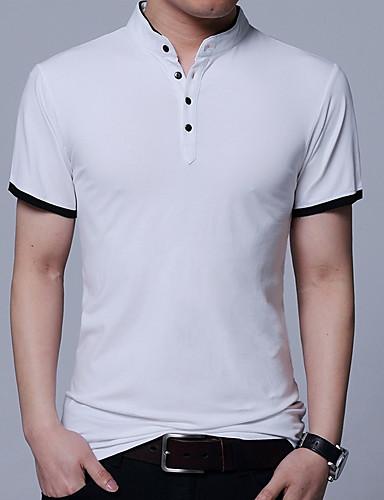 Veći konfekcijski brojevi Majica s rukavima Muškarci Izlasci / Vikend Pamuk Jednobojni Ruska kragna / Kratkih rukava