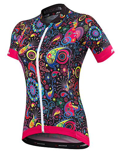 cheap Cycling Clothing-Malciklo Women's Short Sleeve Cycling Jersey - Black Plus Size Bike Jersey Breathable Quick Dry Anatomic Design Ultraviolet Resistant Reflective Strips Sports Spandex Bamboo-carbon Fiber Coolmax®