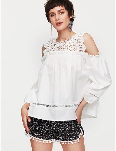 2019 Nuovo Stile T-shirt Per Donna Essenziale Tinta Unita Cotone Bianco Taglia Unica - Estate #06784981 In Vendita