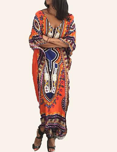 voordelige Maxi-jurken-Dames Feestdagen Ruimvallend Tuniek Jurk - Tribal, Print V-hals Maxi