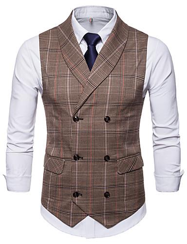 Men's Daily Basic Fall / Winter Regular Vest, Plaid / Checkered V Neck Sleeveless Spandex Brown / Gray XXL / XXXL / 4XL