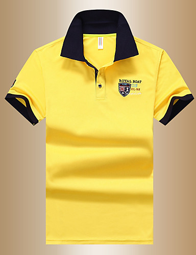 Недорогие Мужские поло-Муж. Polo Рубашечный воротник Классический Однотонный Синий XL / С короткими рукавами / Лето