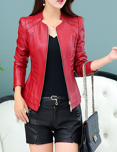 Women S Daily Short Leather Jacket Solid Colored Collarless Long