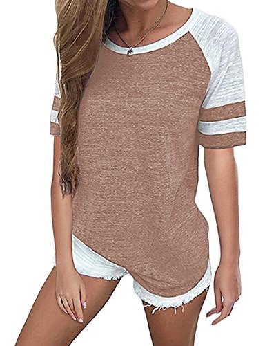 abordables Hauts pour Femmes-Tee-shirt Grandes Tailles Femme, Rayé / Bloc de Couleur Rétro Vintage / Chic de Rue Ample Vert Claire / Automne / Sexy