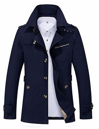 voordelige Herenjacks & jassen-Heren Dagelijks Herfst winter Normaal Jack, Modern Opstaand Lange mouw Polyester Marineblauw / Geel / Khaki