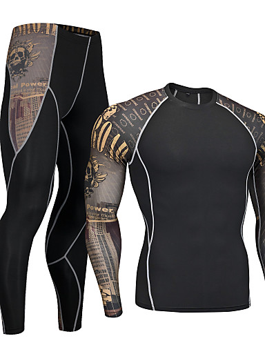 cheap Cycling Clothing-Nuckily Men's Long Sleeve Cycling Base Layer - Coffee Skull Bike Clothing Suit Quick Dry Sports Polyester Spandex Skull Mountain Bike MTB Road Bike Cycling Clothing Apparel / Micro-elastic