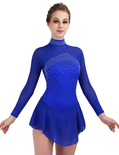Figure Skating Dress Women's / Girls' Ice Skating Dress Dark Blue / Aquamarine Open Back Spandex High Elasticity Competition Skating Wear Quick Dry, Anatomic Design, Handmade Classic Ice Skating