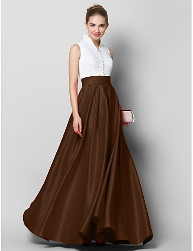 cheap Evening Dresses-A-Line High Neck Floor Length Lace / Satin Color Block Formal Evening Dress with Pleats by TS Couture®