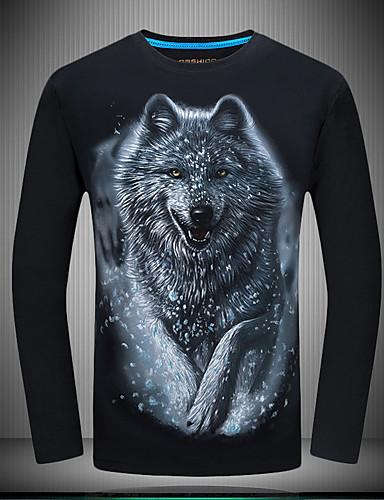 voordelige Heren T-shirts & tanktops-Heren Vintage Grote maten - T-shirt Katoen dier Ronde hals Slank Wolf blauw / Lange mouw